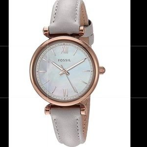 Fossil Mini Stainless Steel & Leather Quartz watch